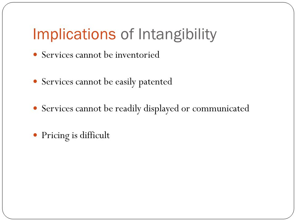 Implications of Intangibility