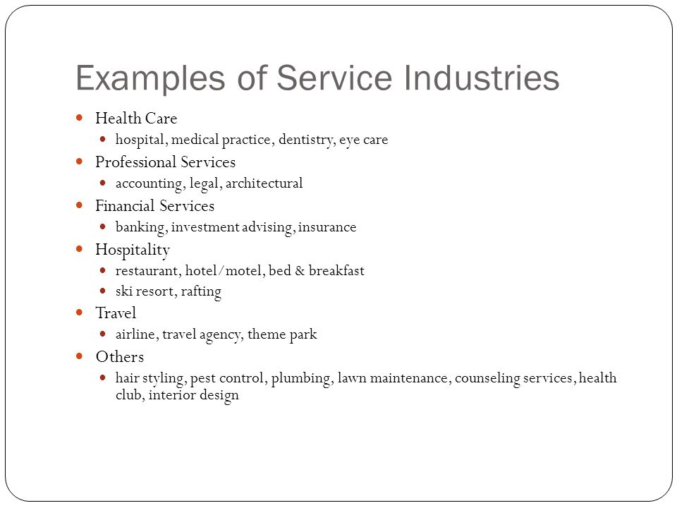 Examples of Service Industries