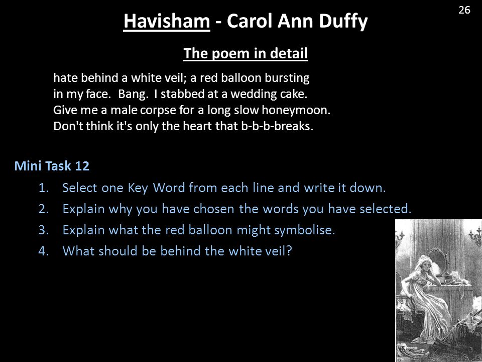 essay on the poem havisham Havisham by carol ann duffy  how far does the poem show that miss havisham is responsible for her own  practice essay questions.