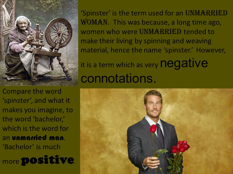 'Spinster' is the term used for an unmarried woman