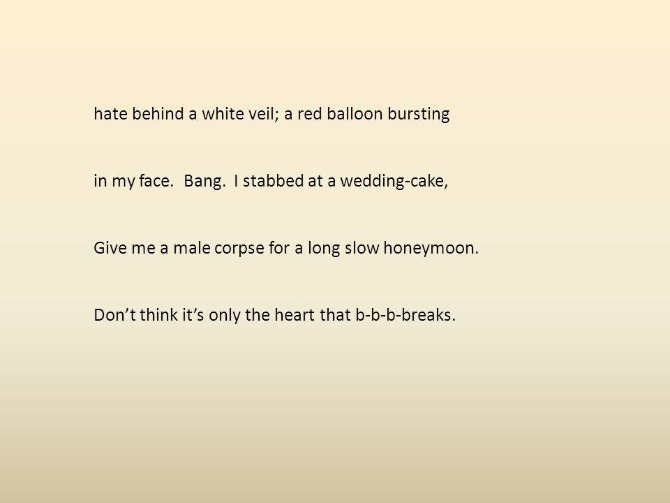 hate behind a white veil; a red balloon bursting