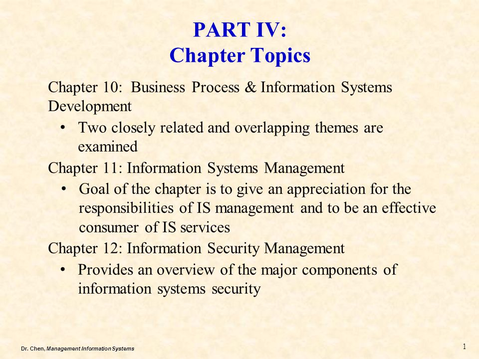 PART IV: Chapter Topics
