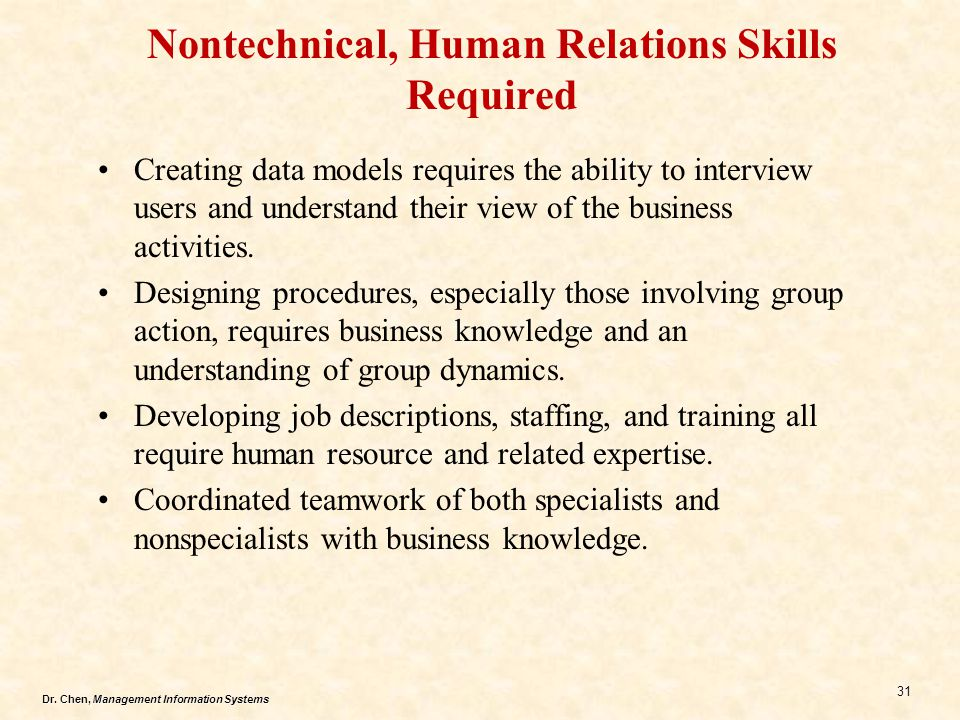 Nontechnical, Human Relations Skills Required