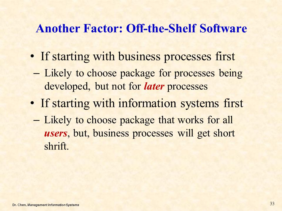 Another Factor: Off-the-Shelf Software