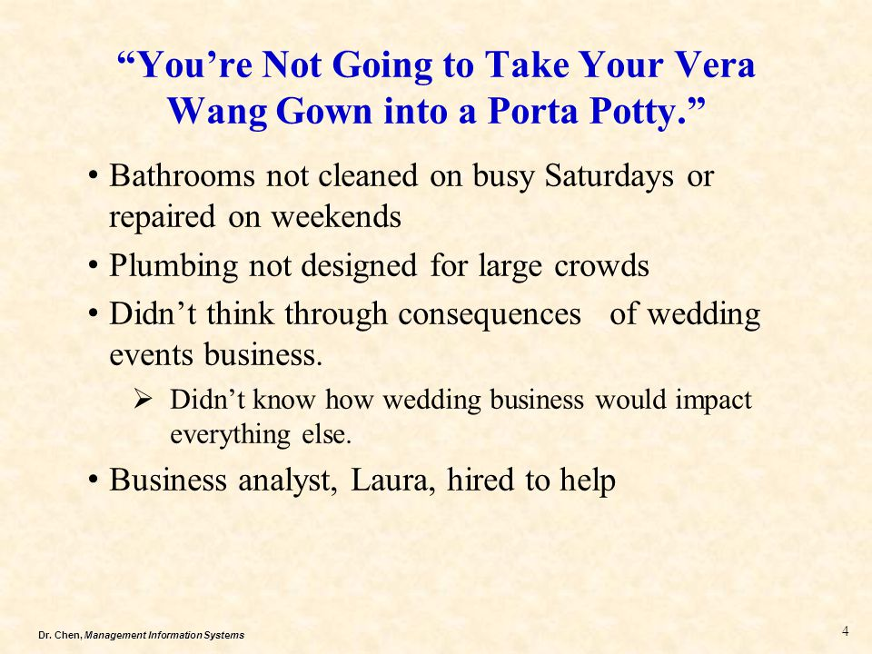 You're Not Going to Take Your Vera Wang Gown into a Porta Potty.
