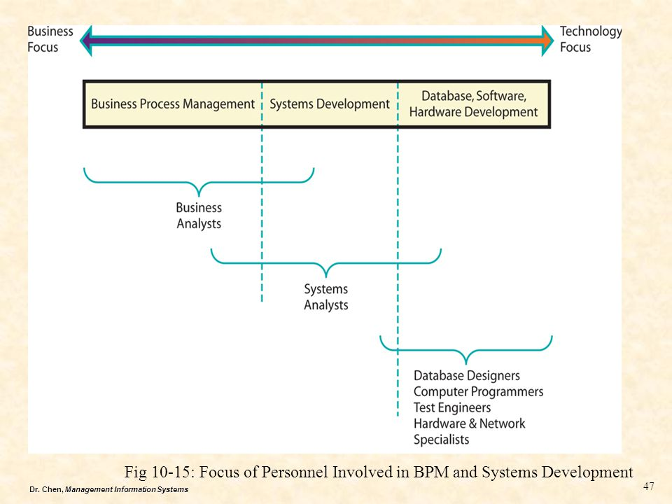 Fig 10-15: Focus of Personnel Involved in BPM and Systems Development