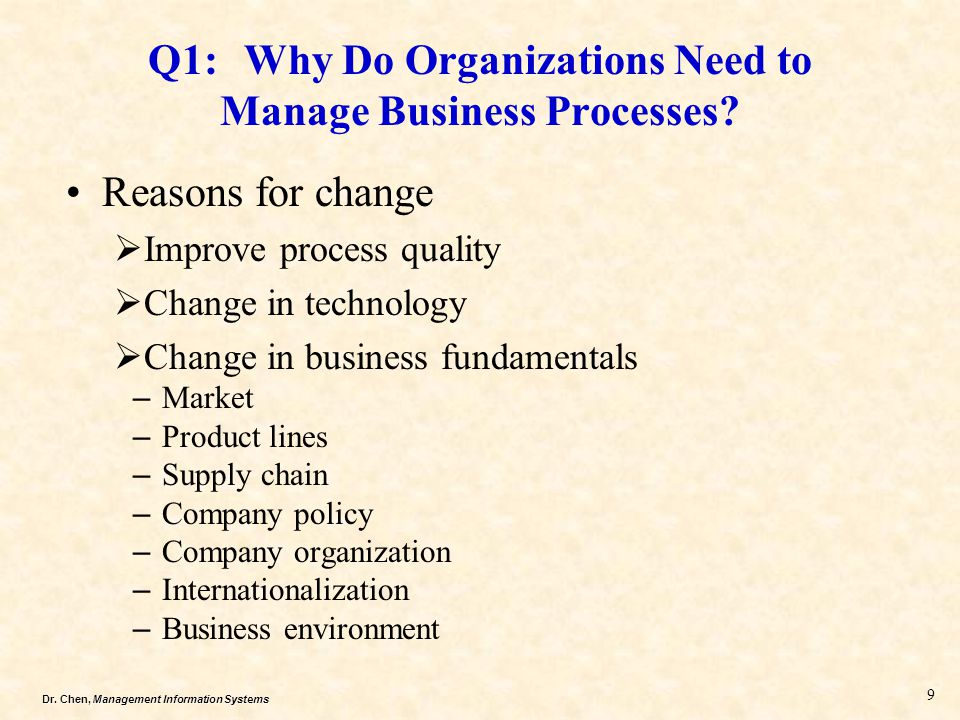 Q1: Why Do Organizations Need to Manage Business Processes
