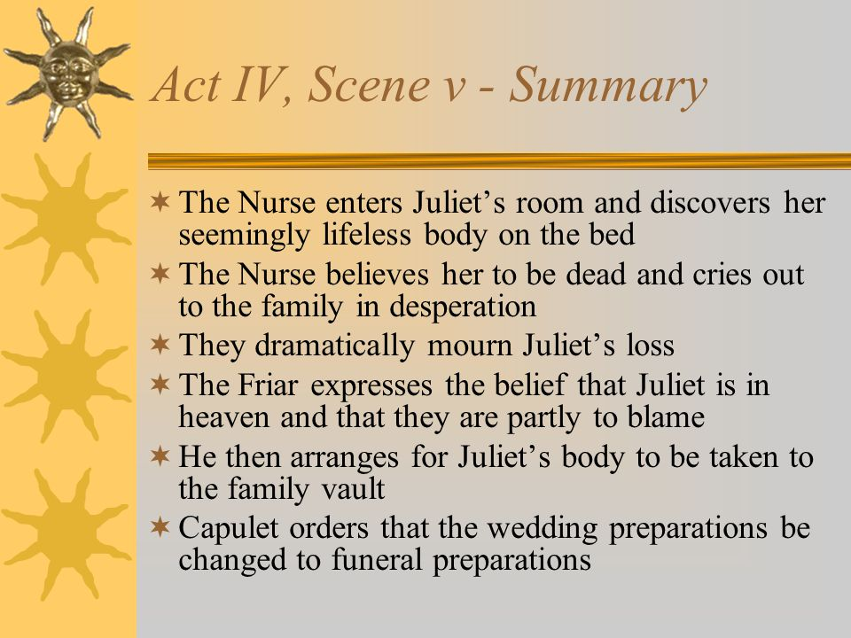 Act IV, Scene v - Summary The Nurse enters Juliet's room and discovers her seemingly lifeless body on the bed.