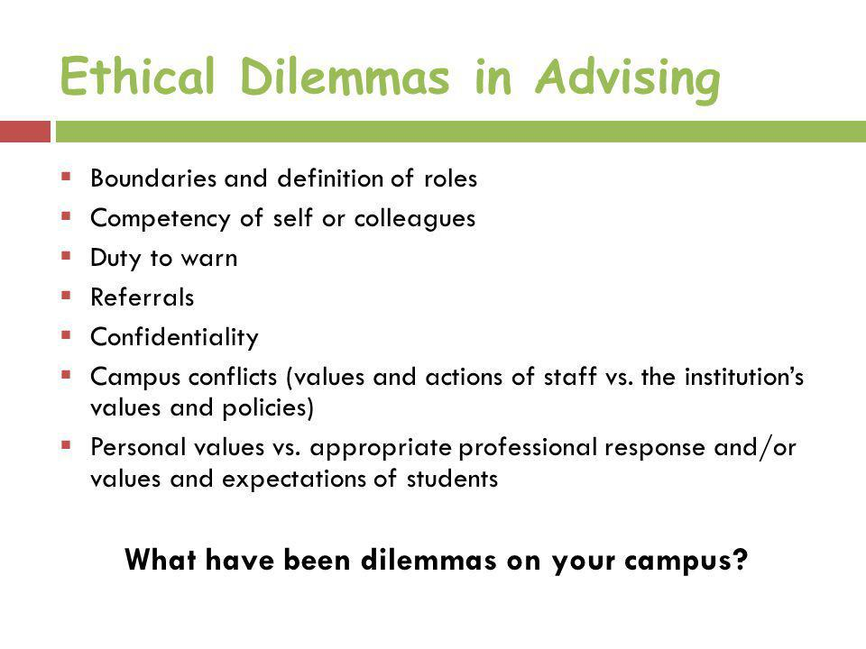 Ethical Dilemmas in Advising