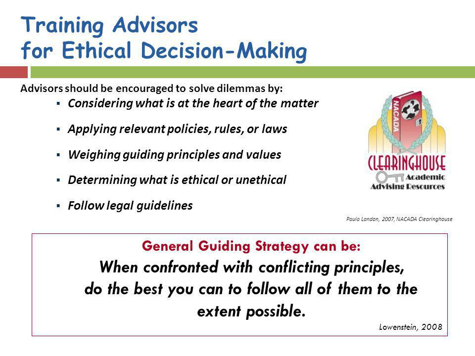 Training Advisors for Ethical Decision-Making