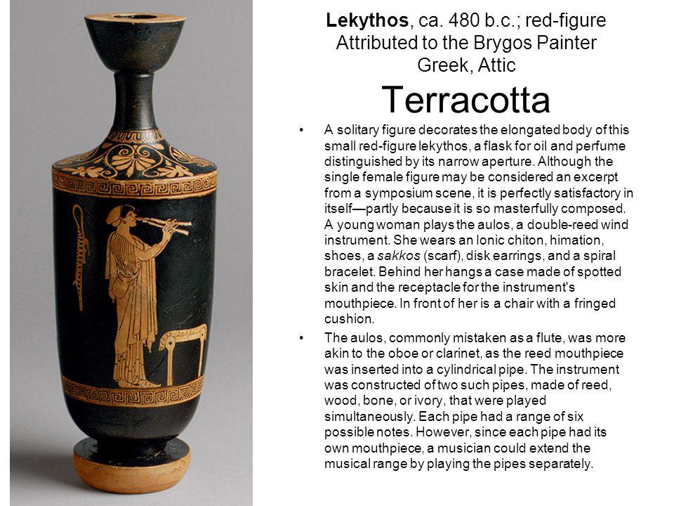 Lekythos, ca. 480 b.c.; red-figure Attributed to the Brygos Painter Greek, Attic Terracotta
