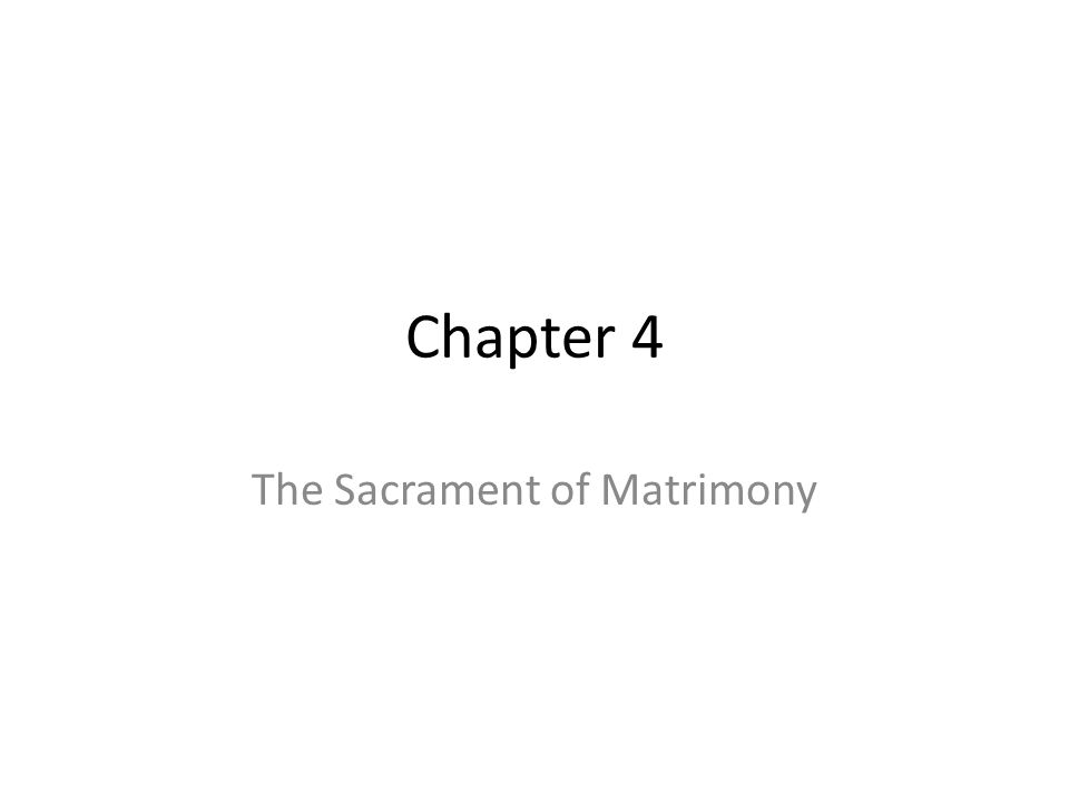 The Sacrament of Matrimony