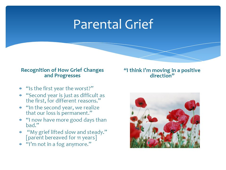 Parental Grief Recognition of How Grief Changes and Progresses