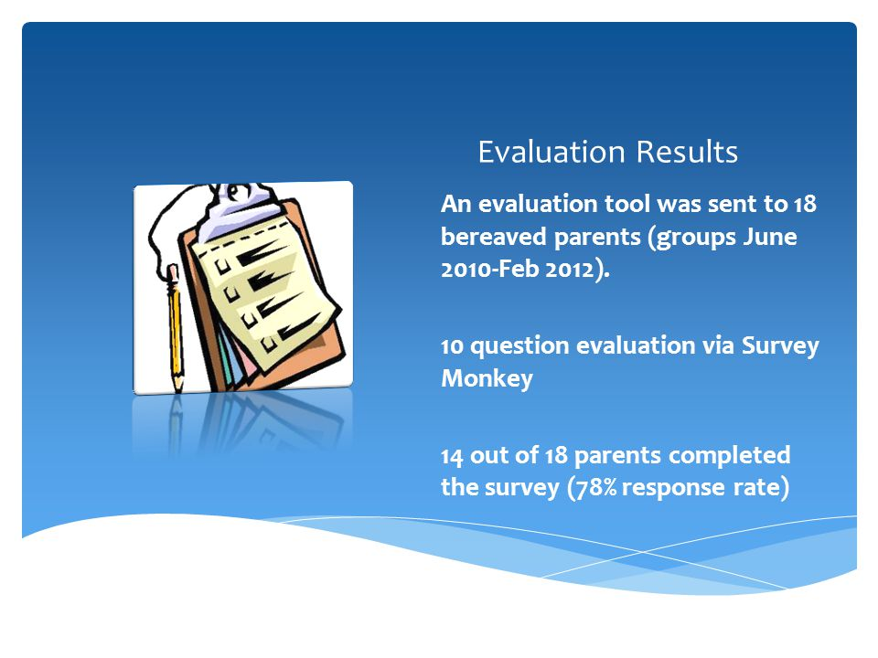 Evaluation Results An evaluation tool was sent to 18 bereaved parents (groups June 2010-Feb 2012). 10 question evaluation via Survey Monkey.