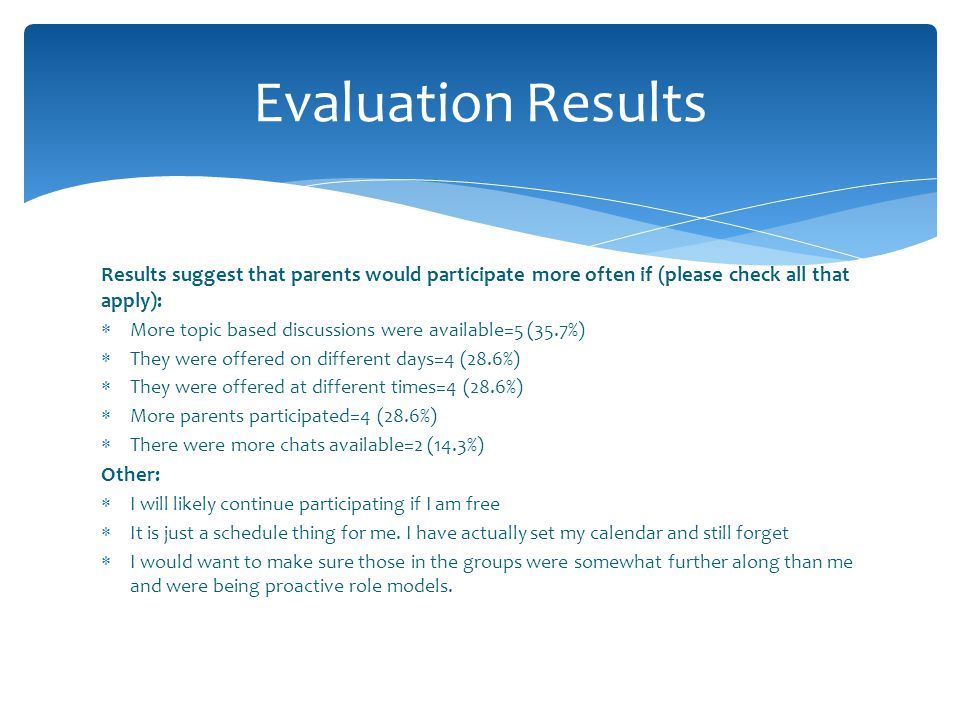 Evaluation Results Results suggest that parents would participate more often if (please check all that apply):