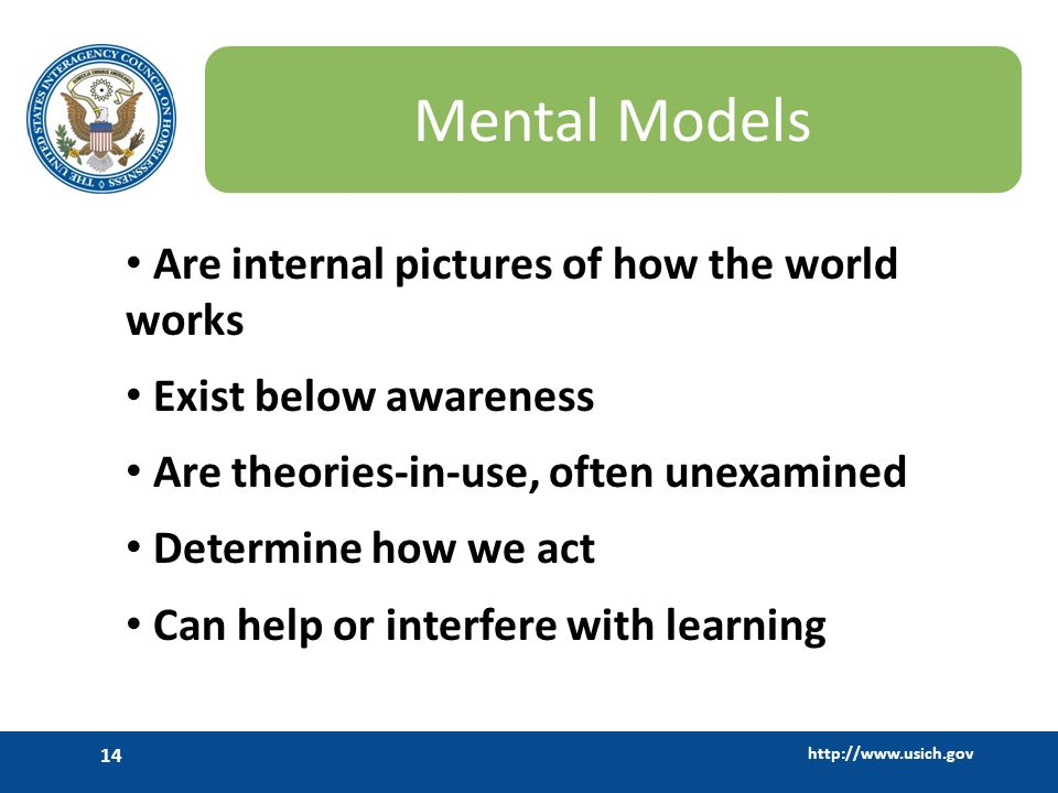 Mental Models Are internal pictures of how the world works