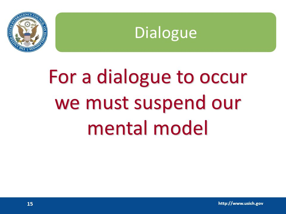 For a dialogue to occur we must suspend our mental model