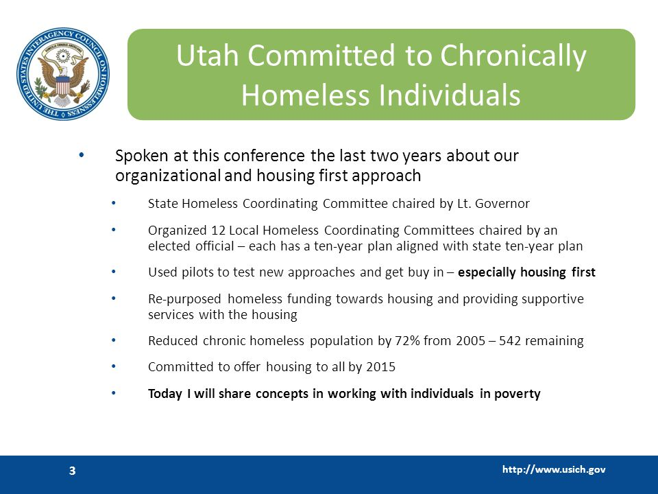 Utah Committed to Chronically Homeless Individuals