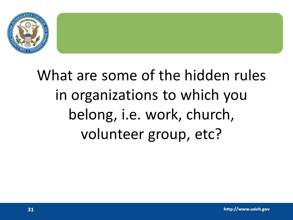 What are some of the hidden rules in organizations to which you belong, i.e.