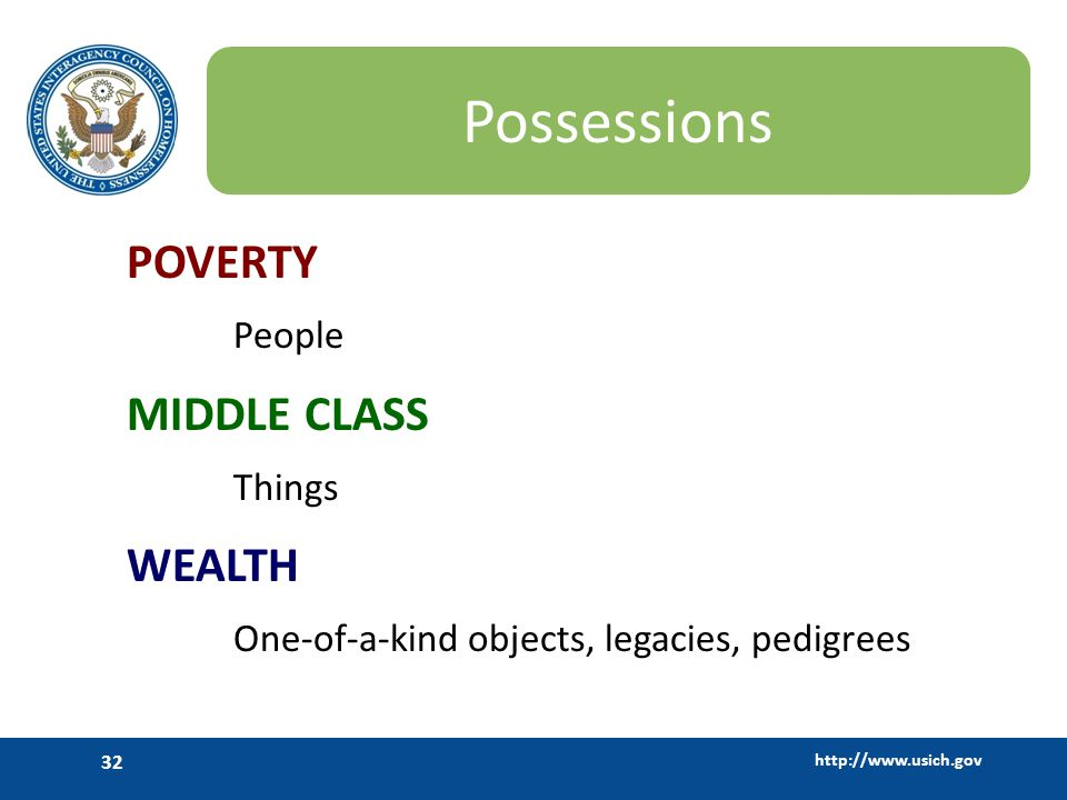 Possessions POVERTY MIDDLE CLASS WEALTH People Things