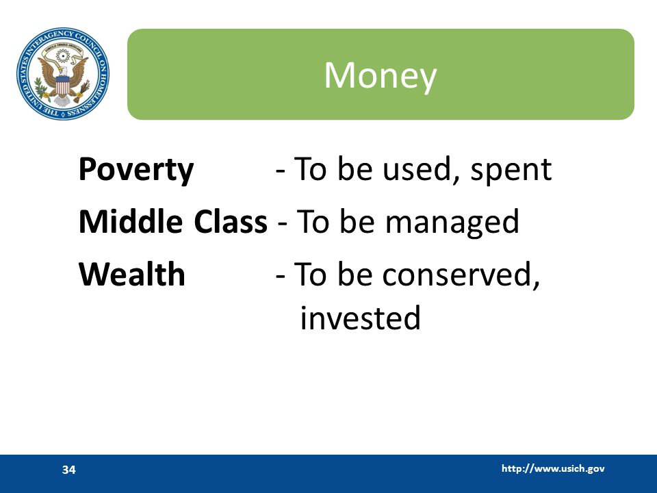 Money Poverty - To be used, spent Middle Class - To be managed