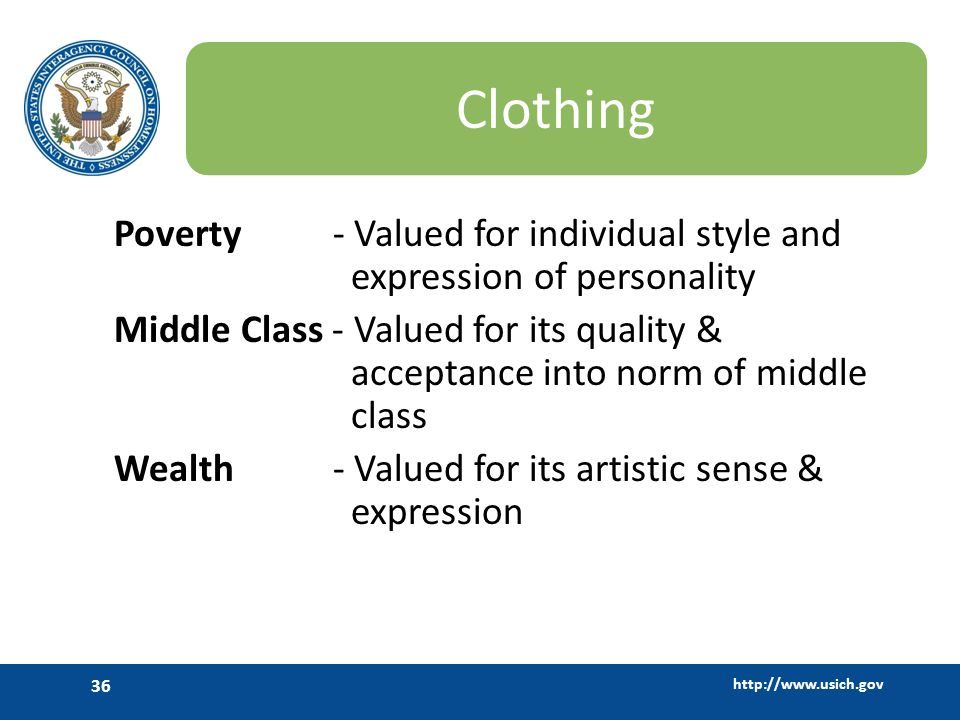 Clothing Poverty - Valued for individual style and expression of personality.