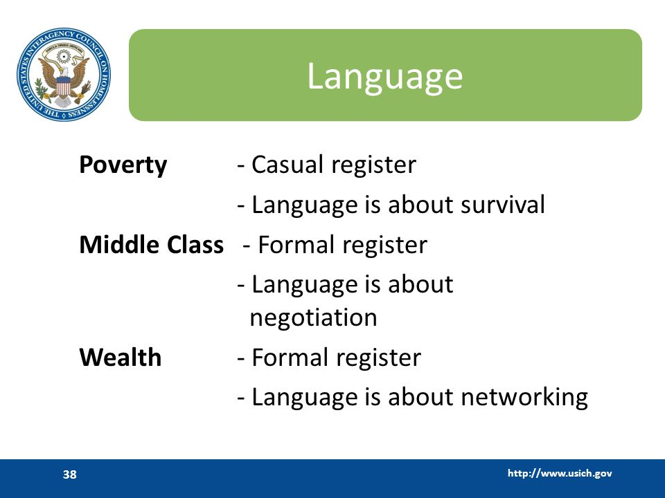 Language Poverty - Casual register - Language is about survival