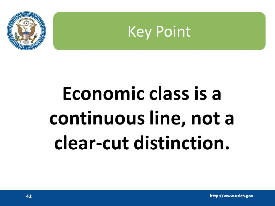 Economic class is a continuous line, not a clear-cut distinction.