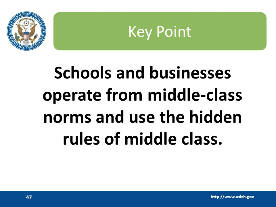 Key Point Schools and businesses operate from middle-class norms and use the hidden rules of middle class.