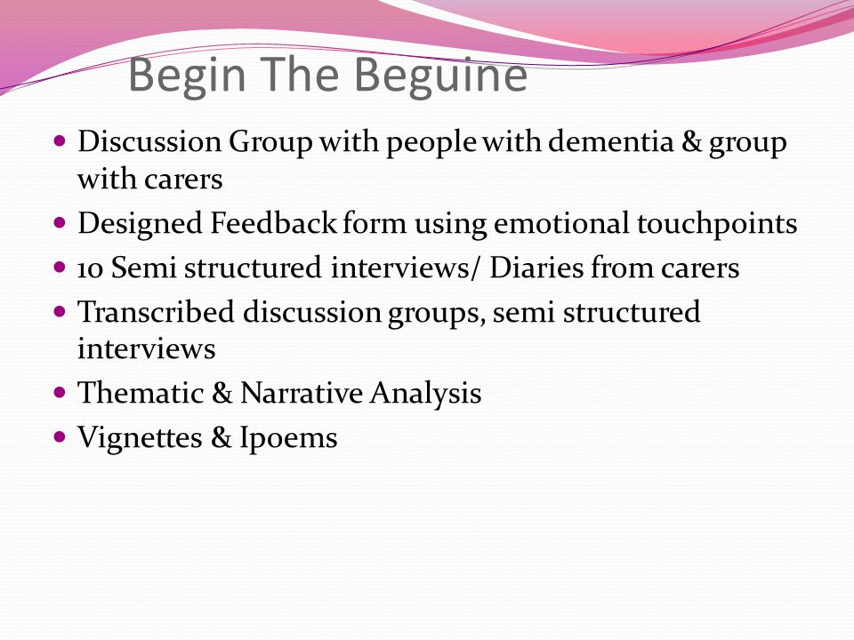 Begin The Beguine Discussion Group with people with dementia & group with carers. Designed Feedback form using emotional touchpoints.