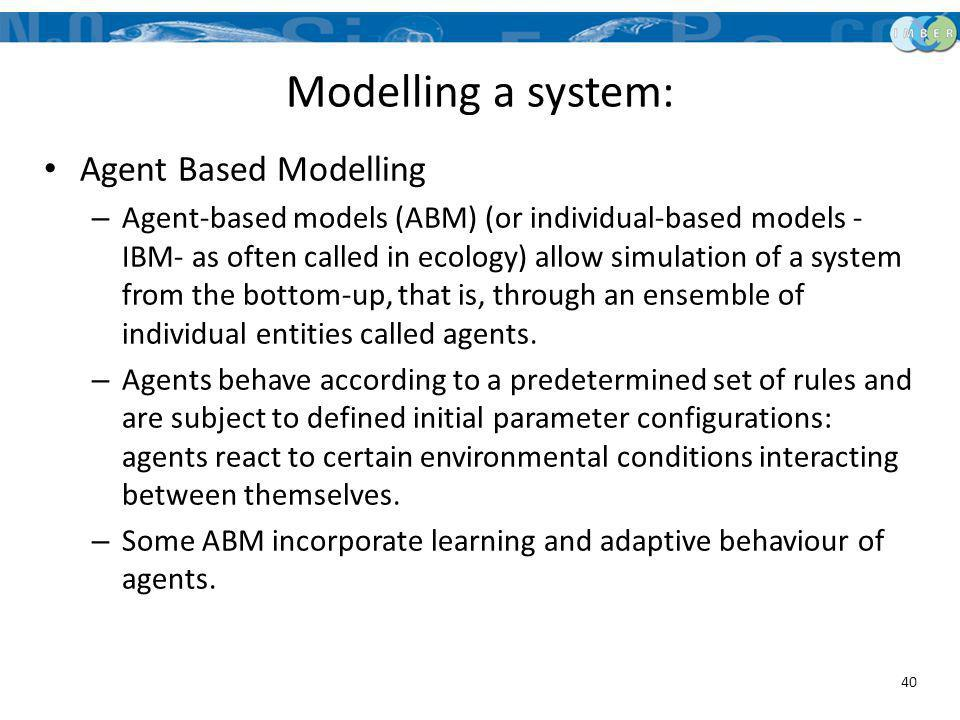 Modelling a system: Agent Based Modelling