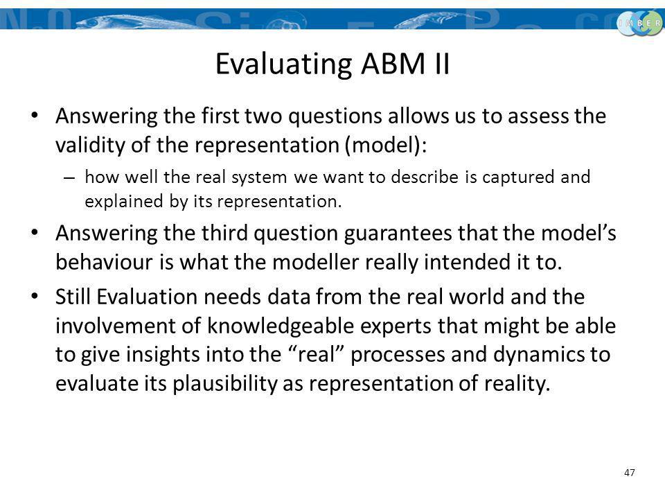 Evaluating ABM II Answering the first two questions allows us to assess the validity of the representation (model):