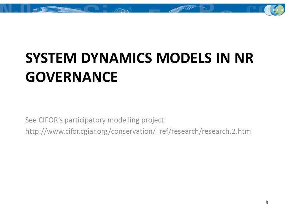 System dynamics models in NR governance