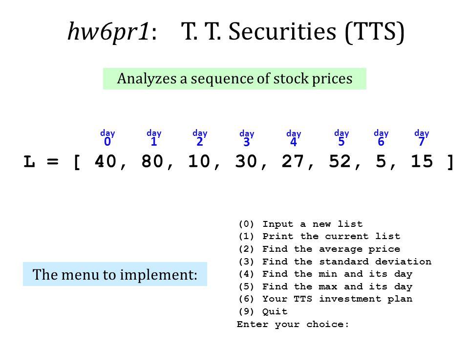hw6pr1: T. T. Securities (TTS)