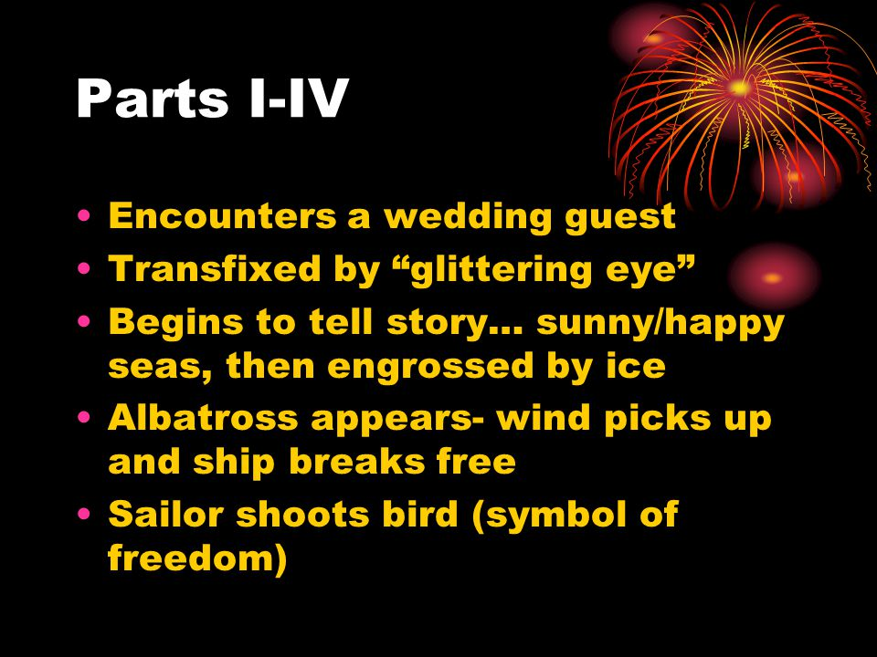 Parts I-IV Encounters a wedding guest Transfixed by glittering eye