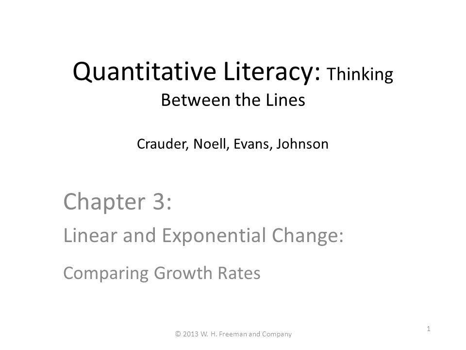 Chapter 3: Linear and Exponential Change: Comparing Growth Rates