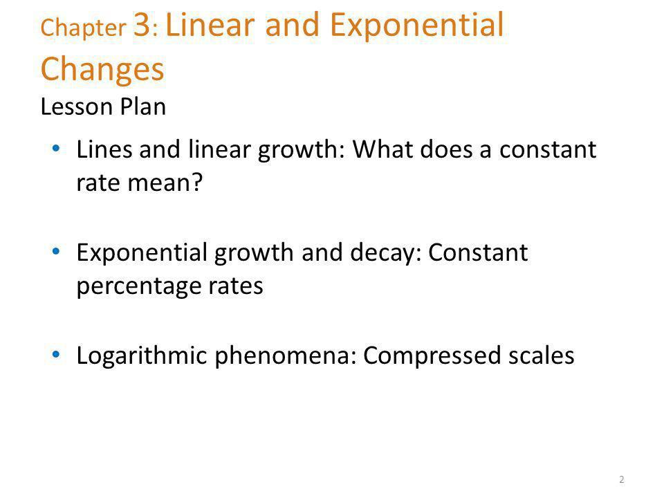 Chapter 3: Linear and Exponential Changes Lesson Plan