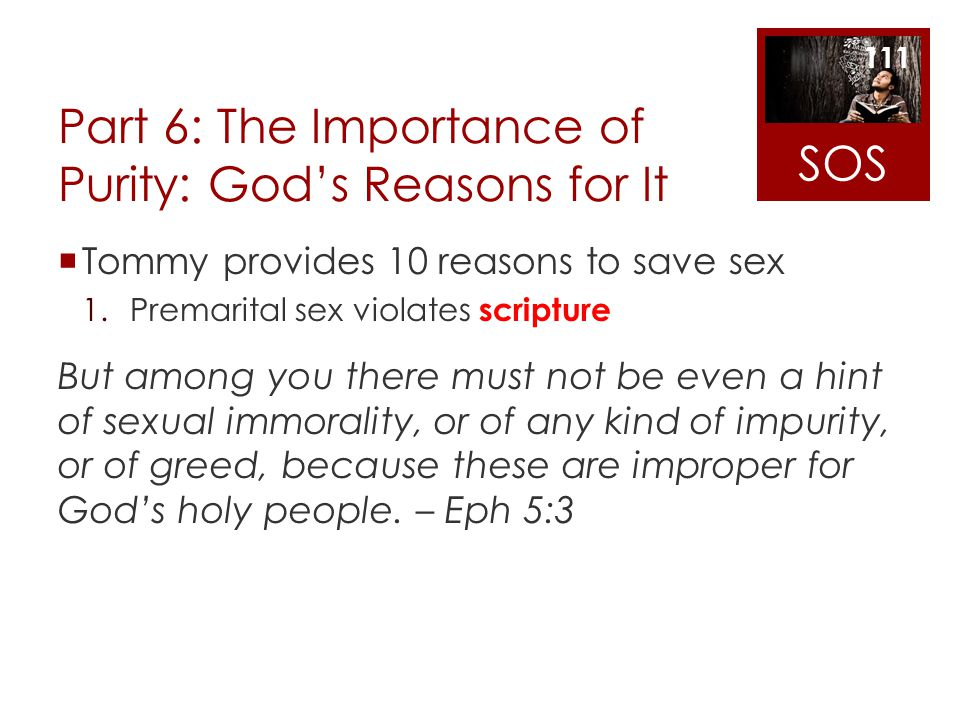 Part 6: The Importance of Purity: God's Reasons for It