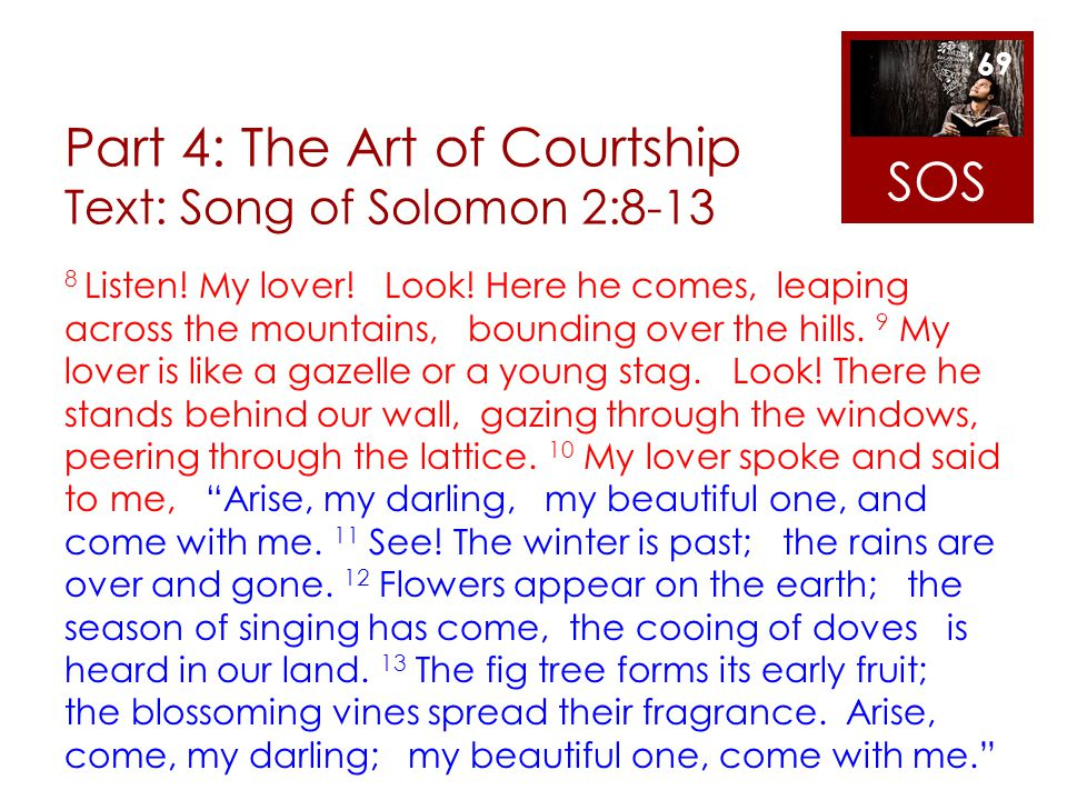 Part 4: The Art of Courtship Text: Song of Solomon 2:8-13