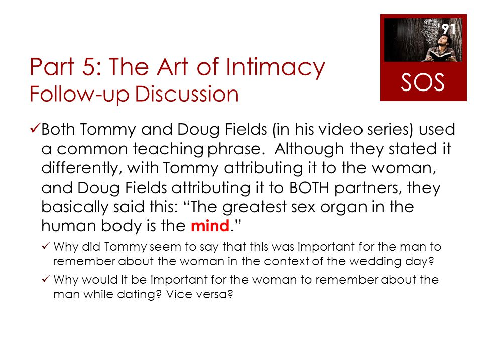 Part 5: The Art of Intimacy Follow-up Discussion