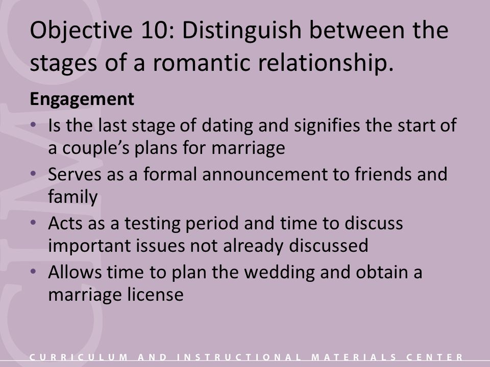 Objective 10: Distinguish between the stages of a romantic relationship.