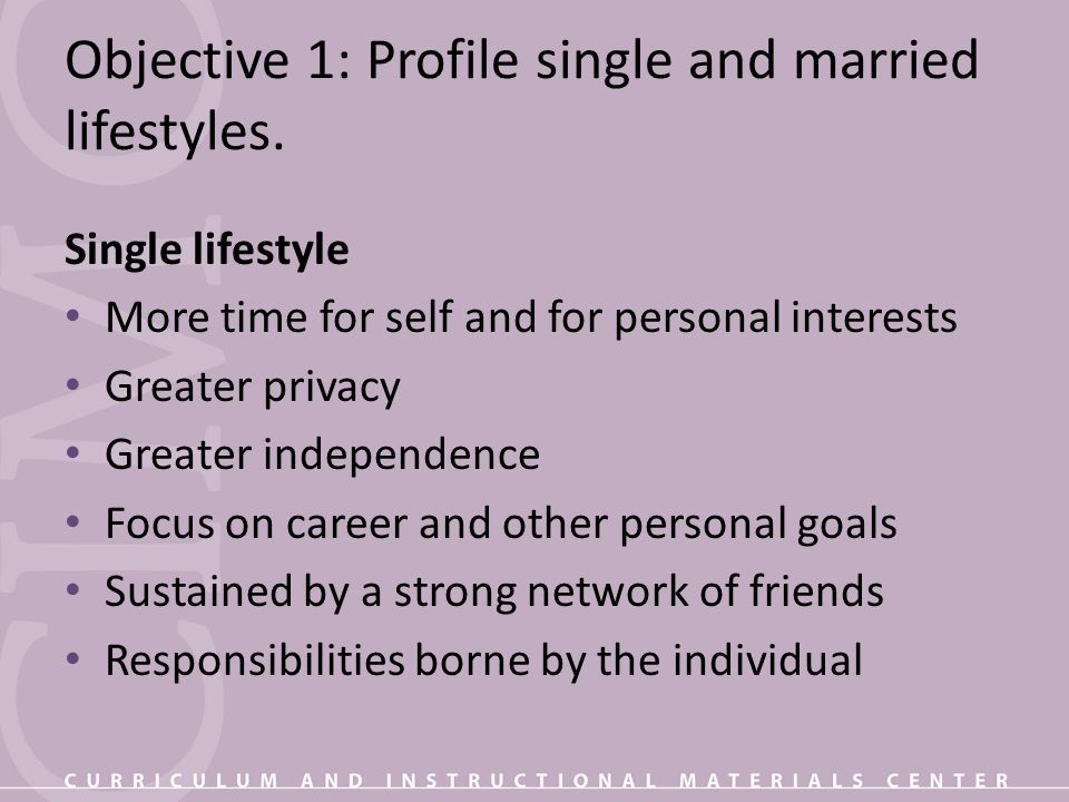 Objective 1: Profile single and married lifestyles.
