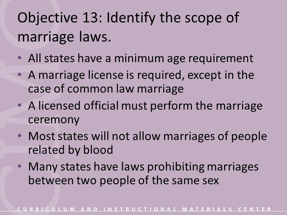 Objective 13: Identify the scope of marriage laws.