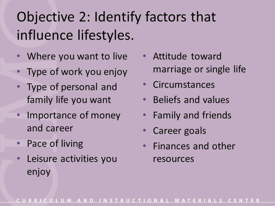 Objective 2: Identify factors that influence lifestyles.
