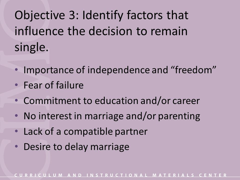 Objective 3: Identify factors that influence the decision to remain single.
