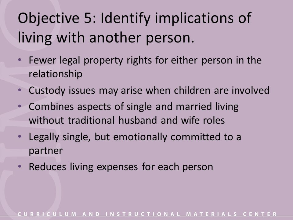 Objective 5: Identify implications of living with another person.