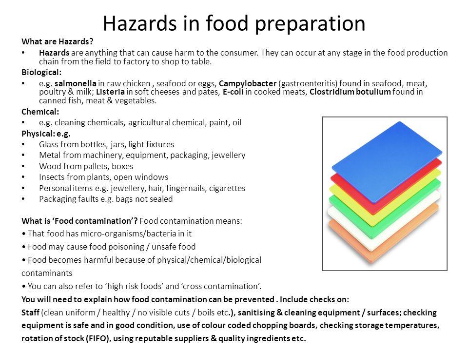 Hazards in food preparation
