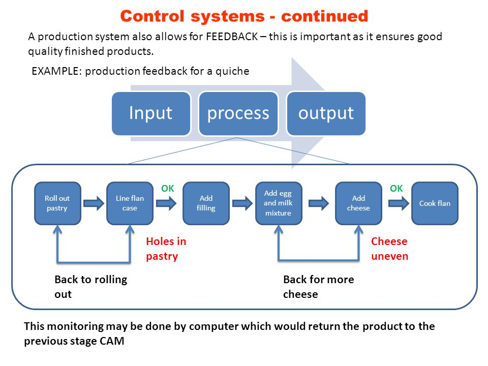 Input process output Control systems - continued