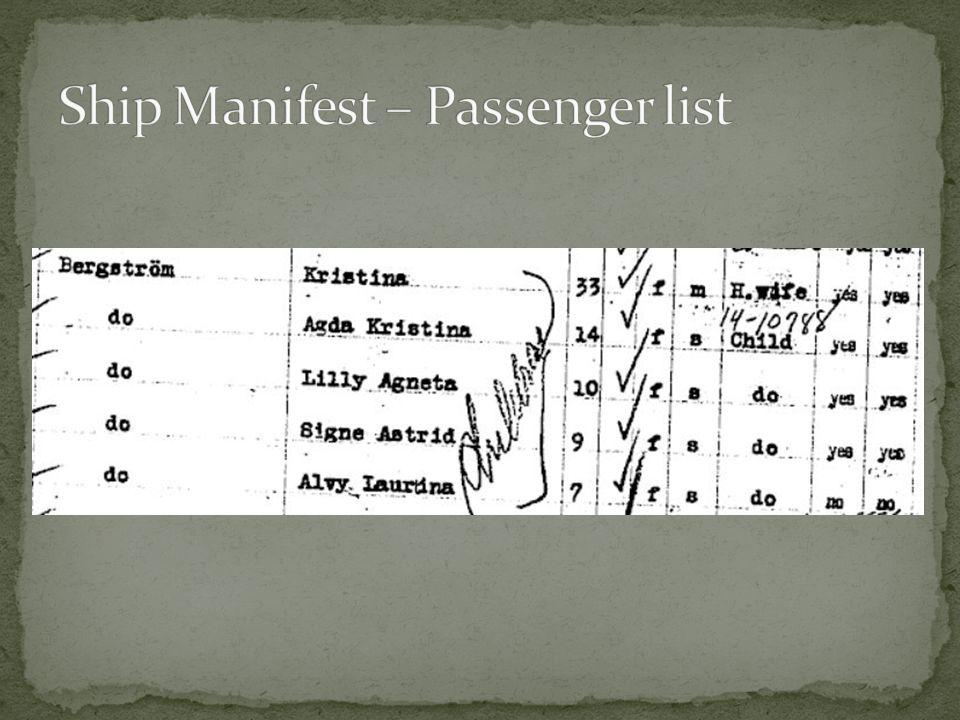 Ship Manifest – Passenger list