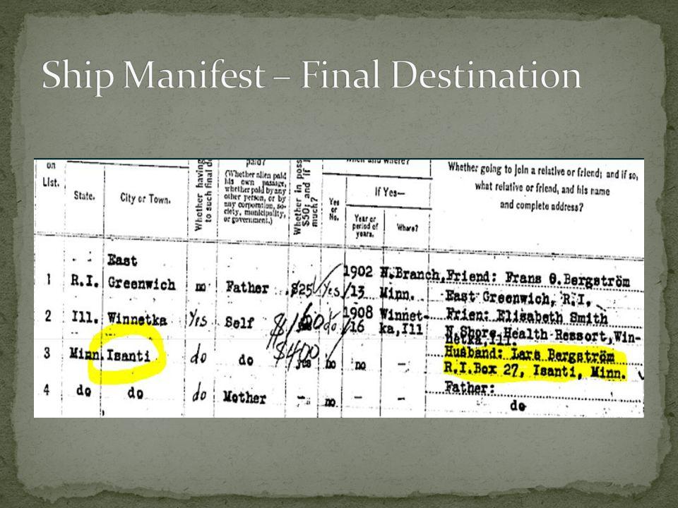 Ship Manifest – Final Destination